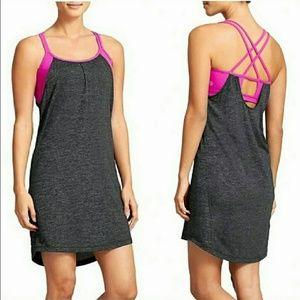 Athleta Heather Gray  Pink Dress Built in Bra